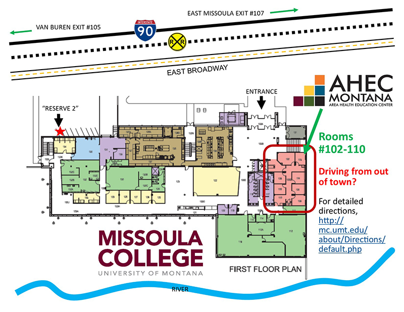 map of missoula college with ahec office higlighted